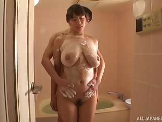 Buttery bath action with big tittied babe Haruna Hana