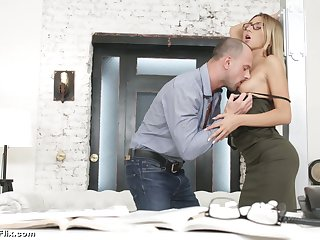 Young secretary in glasses Katrin Tequila is fucked apart from horny boss