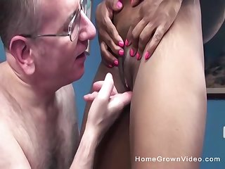 Mature ebony slut fingered increased by fucked by a mature sickly guy