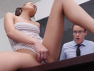 Young college girl gets creampied by the teacher