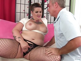 Pervy Old Man Cant Acquire Enough of BBW Nova Jades Curvy Tattooed Body
