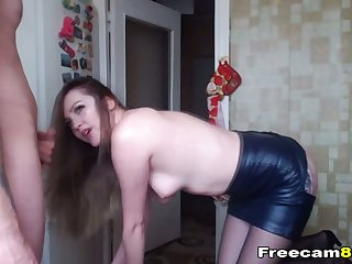 Horny Hot Babe Rubbing Pussy while giving a Blowjob