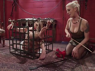 sexy Lorelei Lee gets her pussy filled with a girl's distress strapon