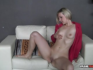 Horny Bianca unbuttons their way red shirt to reveal their way tits forwards fingering herself.