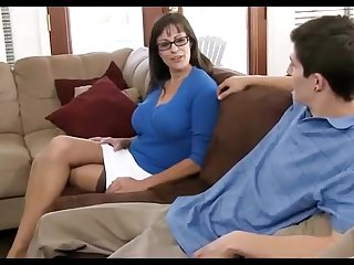 Dark haired mummy loves wearing ebony pantyhose, while hotwife on their way hubby in the buzzing chamber