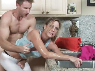 MILF gets their way hand stuck in the drain, their way son helps