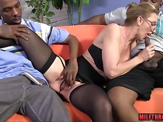 Hot skinny MILF to glasses interracial gangbang