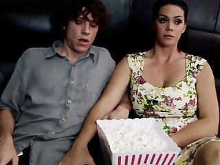 Roasting milf touch shy stepson's dick in large screen