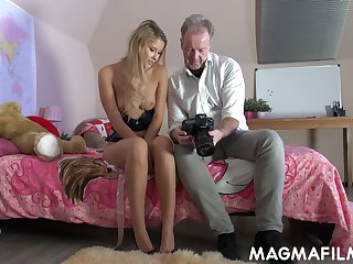 Naughty chick Casey is having perverted sex game with hot blooded elder dude