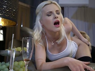 Ancient tribadic enjoys eating fresh pussy and close-fisted ass gap of lovely blondie Zazie Skymm
