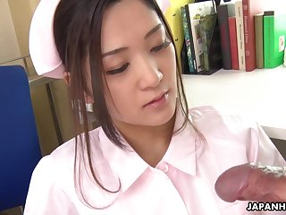 Japanese nurse at hand medical uniform Anna Kimijima sucking cock of her patient