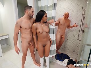 Teen sweetheart kingdom two white dicks up her night-time little holes