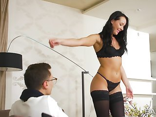 Anal loving unsubtle Carolina Vogue in stockings, fucked by her man