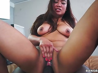 Obscene Asian bitch tries hardcore interracial sex
