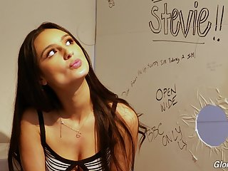 Flagitious teen with dimples Eliza Ibarra gives an interview in the glory hole room