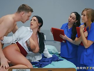 Naked MILF shows younger nurses even so to deal less a smashing dick