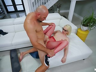 Young nympho Alice Pink gets her tight cunt hammered hard