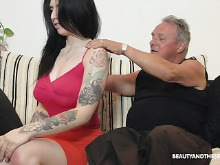 Busty fresh and sexy ignorance babe Sheril Blosso rides older man on advise of