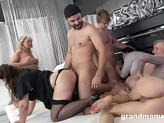 Really uninhibited orgy with dirty like slop mature whores thirsting for orgasm