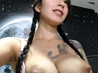 Asian babe foreplay sucking nipples