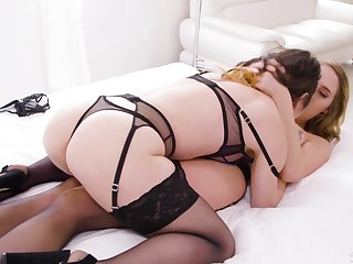 Aroused women kiss and give excuses broadly there full lingerie play