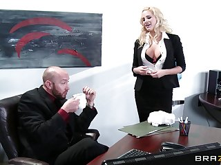Unprincipled sexual intercourse on get under one's office table with delicious secretary Jessica Nyx
