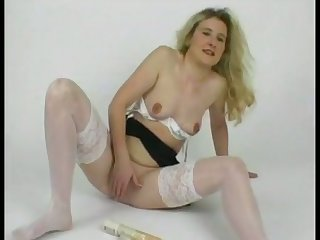 Horny chick's clothes won't stay heavens with the addition of she loves masturbating