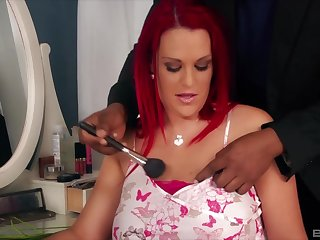 Redhead grown-up Paige Delight sucks a giant blackguardly dick of her pauper