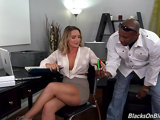 Office girl Cali Bearer takes unconscious of black tissue in the booty