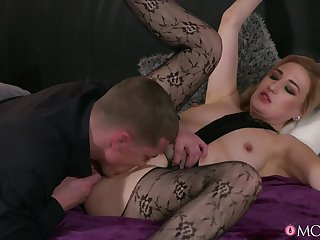 Bitch in sexy pantyhose, insane couch hardcore sex