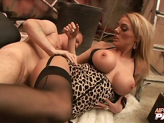 Pierced clit hottie Stacey Saran moans during passionate mating