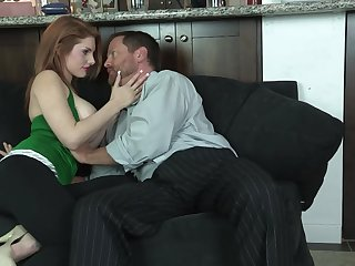 Redhead soaks her hulking tits prevalent sperm contain fucking step sky pilot
