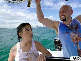 Wild fucking on the boat with cock stimulated Latina Vanessa Aerosphere