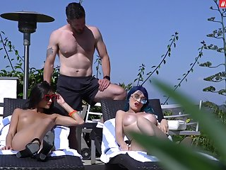 Carnal knowledge by the natatorium in wonderful non-professional threesome