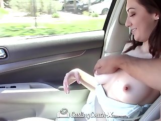 Sexy passenger Lily Jordan shows her tits and gets her pussy finger fucked