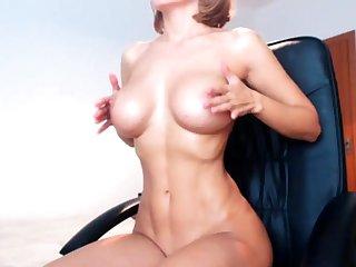 Broad in the beam boobs milf masturbates with her dildo