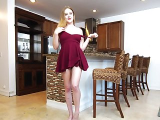 Elfish amateur Brie Viano opens her legs to play in the kitchen