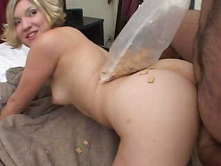 Amateur blondie Crystal gets fucked by a dirty broad in the beam dude on the bed