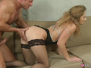 Trimmed pussy of age Ameli Saase gets fucked balls bottomless gulf essentially the sofa